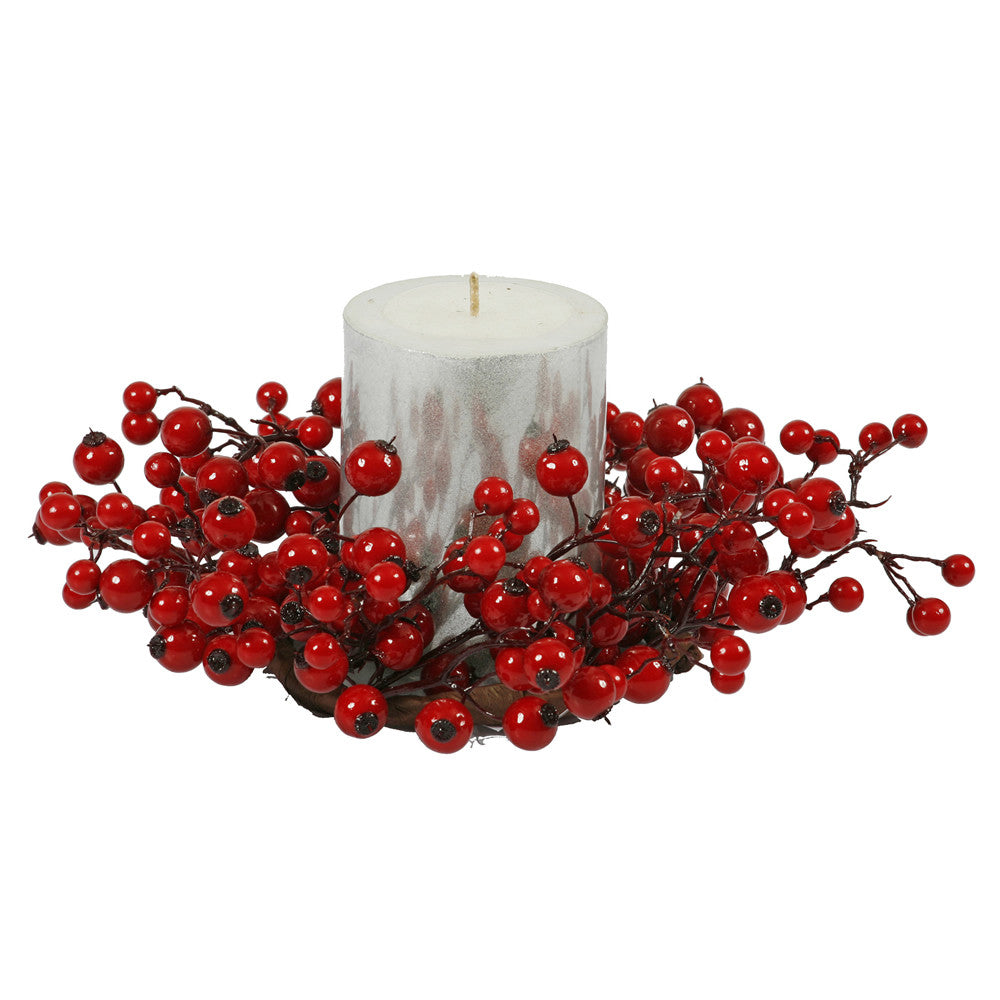 "10"" Red Mixed Berry Candle Ring 3.5"" Ctr"