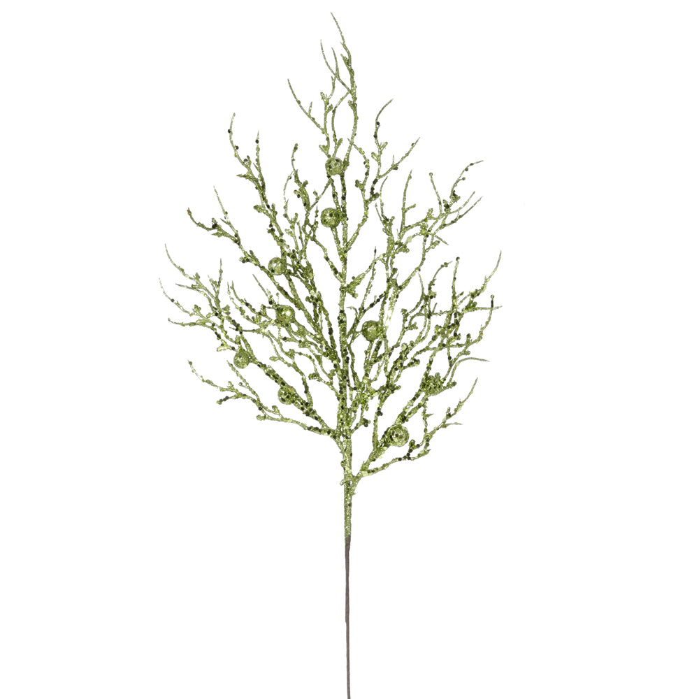 "29"" Light Green Sparkle Berry Twig Spray"