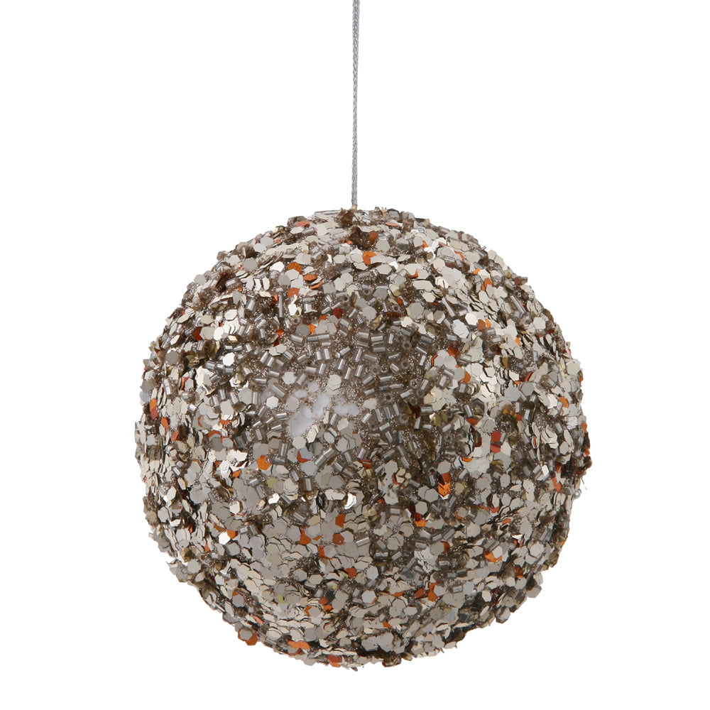 "3.5"" Choco-Silver Sparkle Sequin Ball"