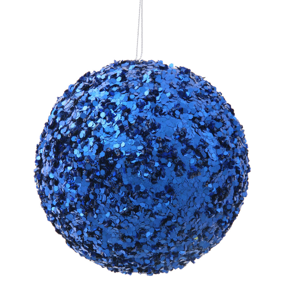 "4.75"" Blue Sparkle Sequin Ball Ornament"
