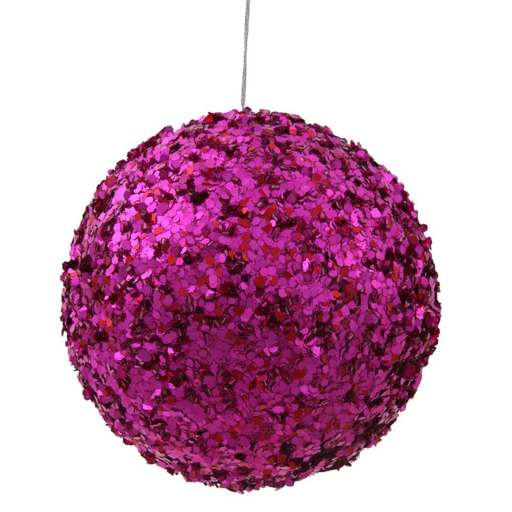 "4.75"" Cerise Sparkle Sequin Ball Ornament"