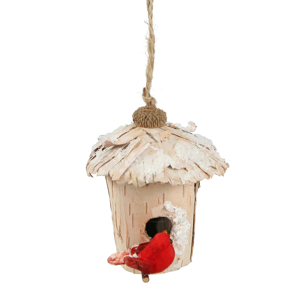 "4"" Snow Birch Bird House Ornament"