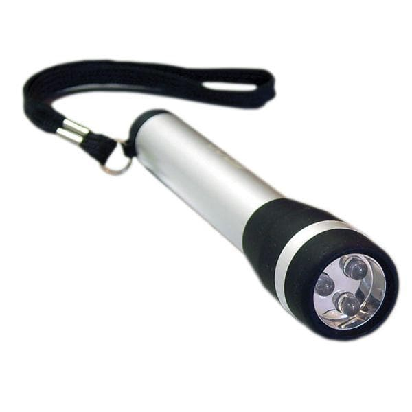 BulbAmerica 3 LED Silver Flashlight in Metal Giftbox