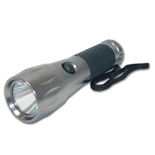BulbAmerica 3w LED Tactical Silver Flashlight with Carrying Pouch