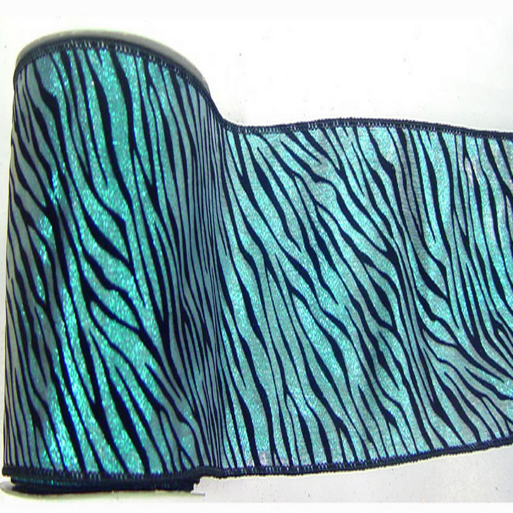 "4"" x 10yd Teal Lame Velvet Black Zebra"