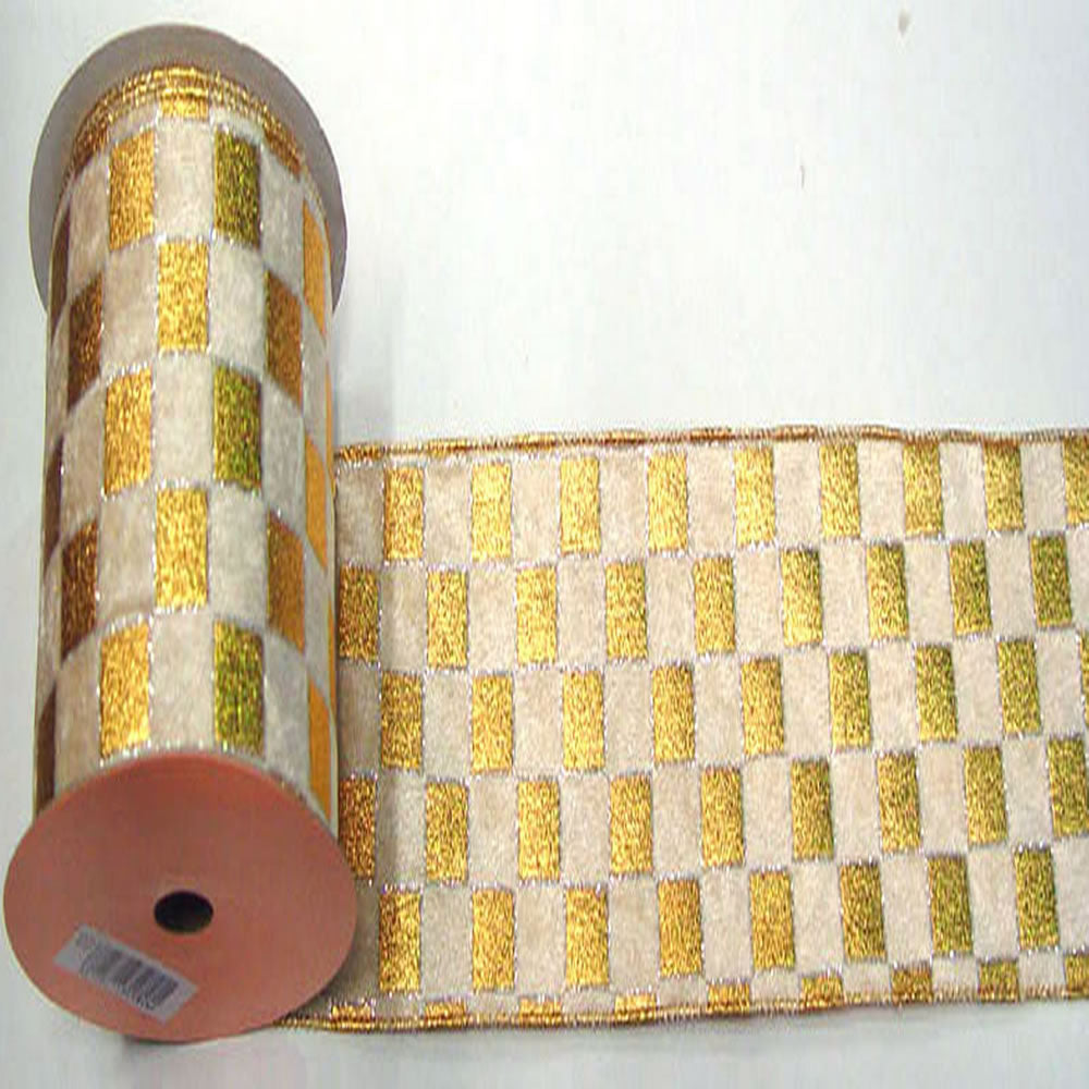 "2.5"" x 10yd Gold-Cream Check Lame"