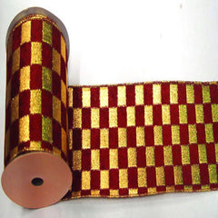 "4"" x 10yd Gold-Burgundy Check Lame"