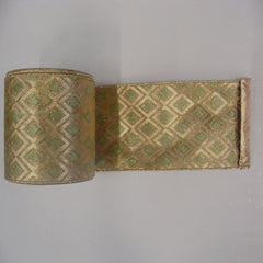 "2.5"" x 10yd Gold-Sage Diamond Lame"