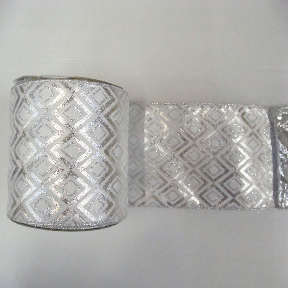 "2.5"" x 10yd Silver-White Diamond Lame"