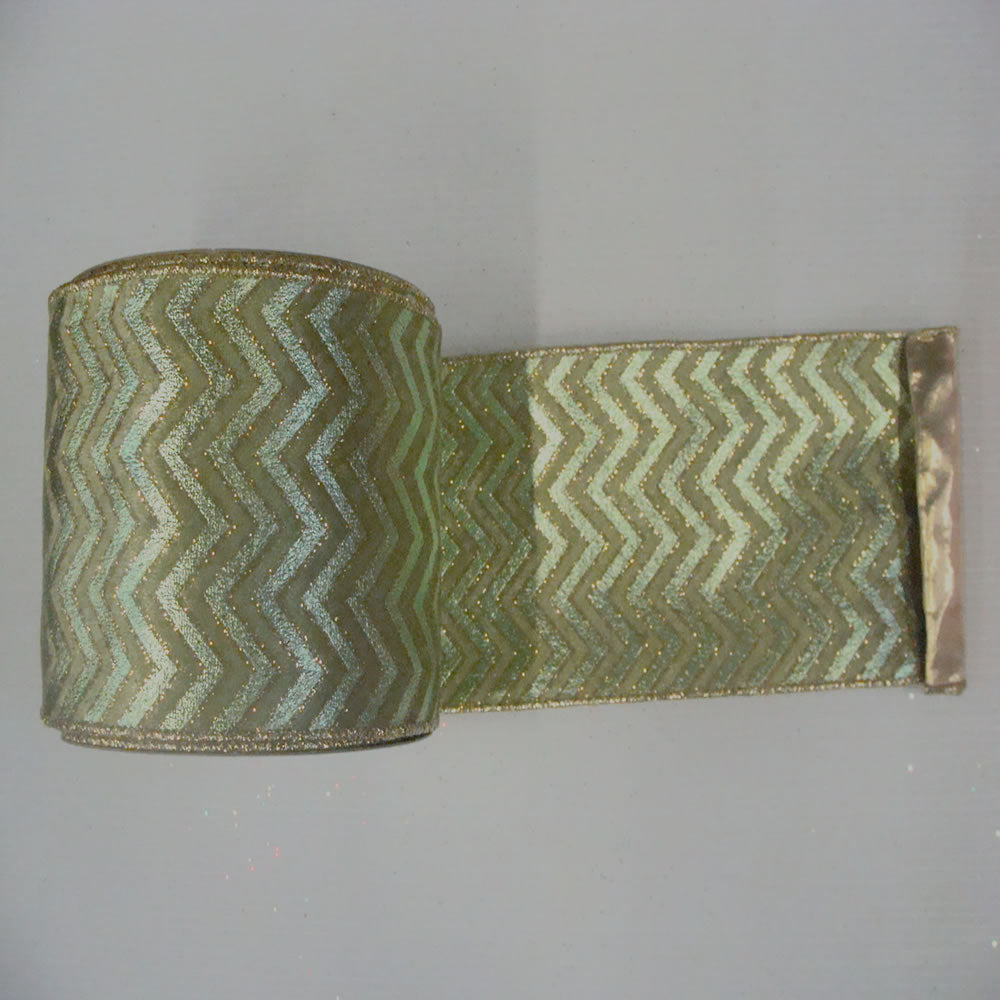"6"" x 10yd Sage-Sage Chevron Gold Lame"
