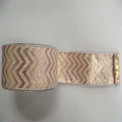 "2.5"" x 10yd Gold-Cream Chevron Lame"