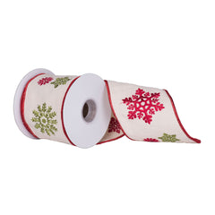 "4"" x 5 yd - Red Green Snowflake Ivory Christmas Wired Ribbon"