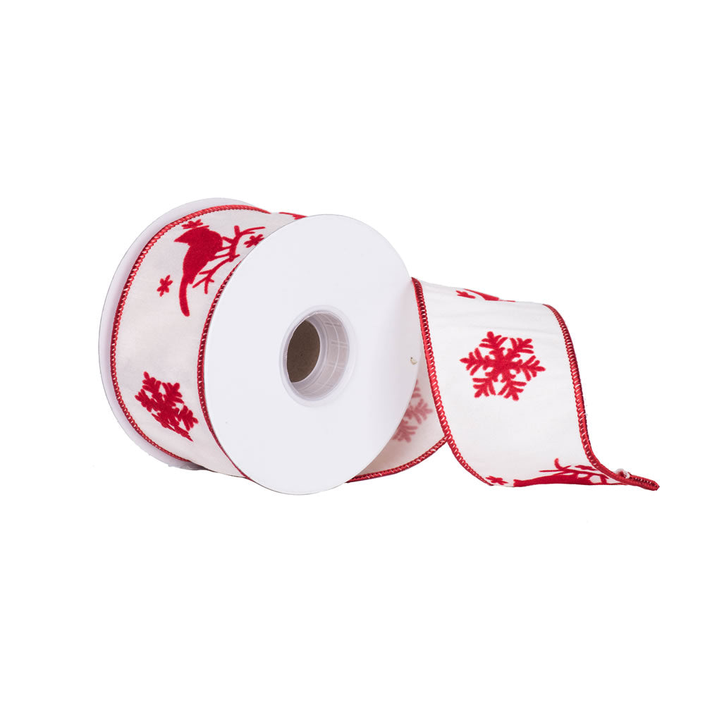 "2.5"" x 10 yd -  Ivory Red Cardinal Snowflake Christmas Wired Ribbon"
