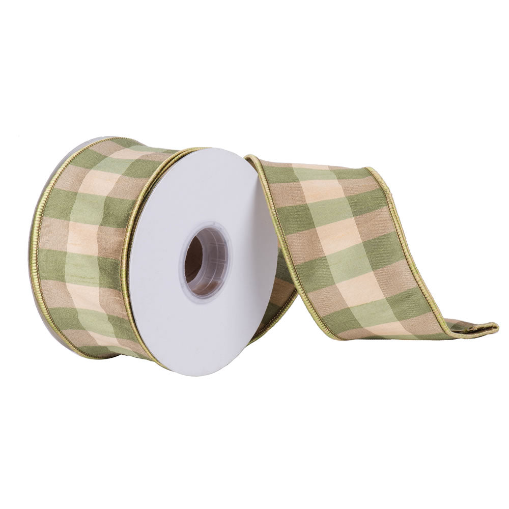 "2.5"" x 10 yd- Sage Ivory Aspen Check Patterned Christmas and Craft Ribbon"