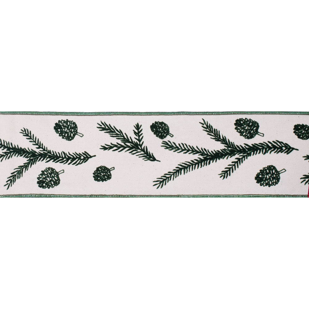 "4"" x 10 yd - Green Spruce Pine Cone Print Ivory Christmas Wired Ribbon"