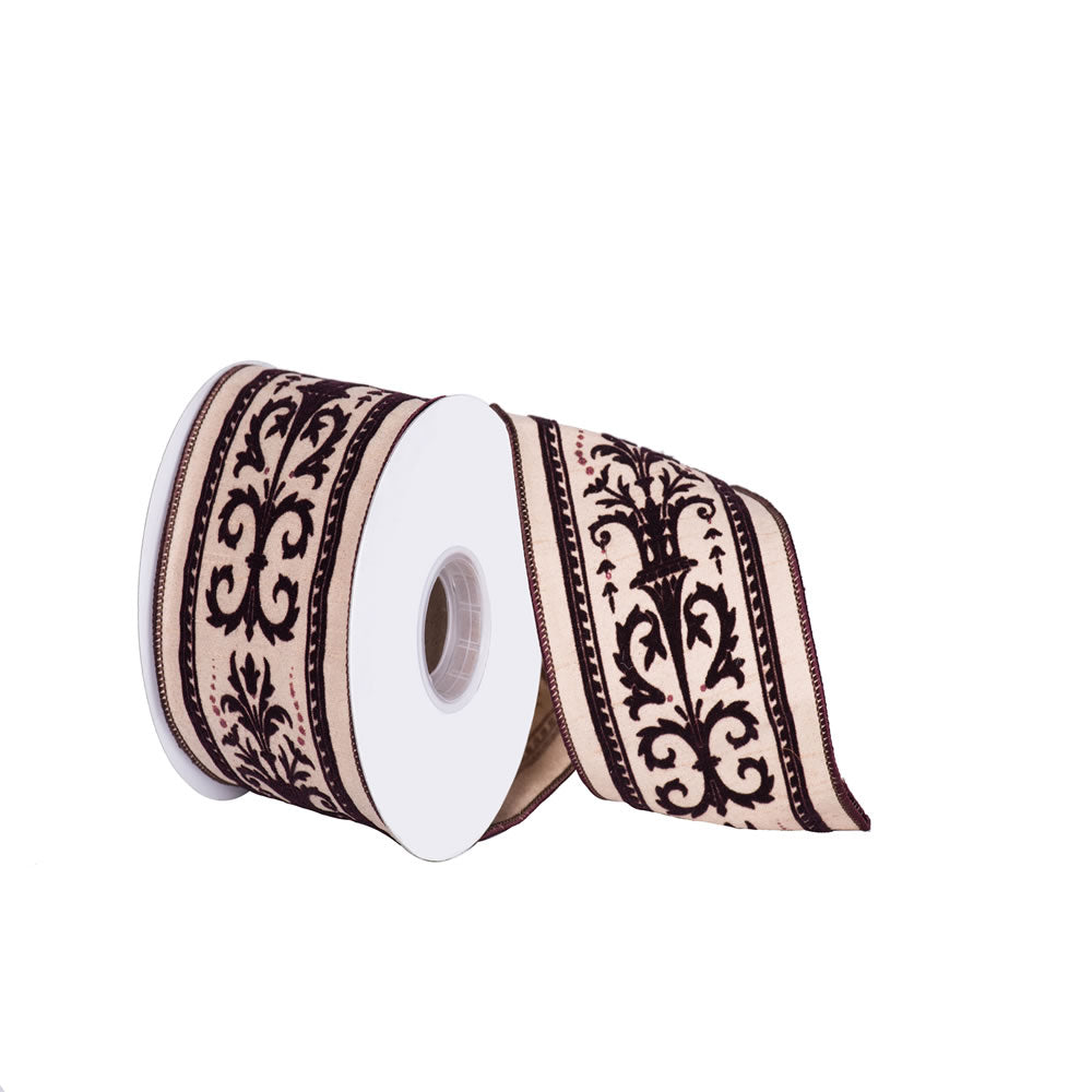 "4"" x 10 yd - Brown Classic Print Beige Dupion Christmas Wired Ribbon"