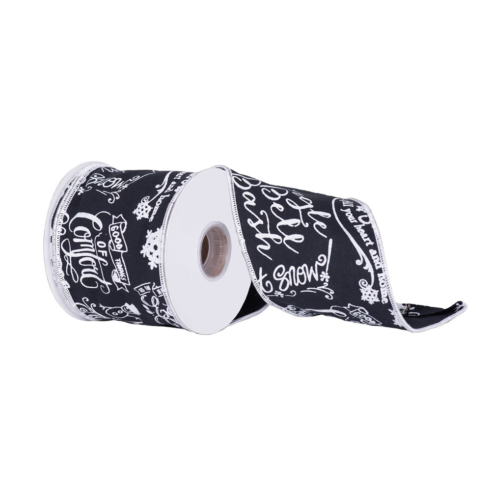 """4"""" x 10 yd - Black and White Chalk Board Dupion Christmas and Craft Ribbon"""