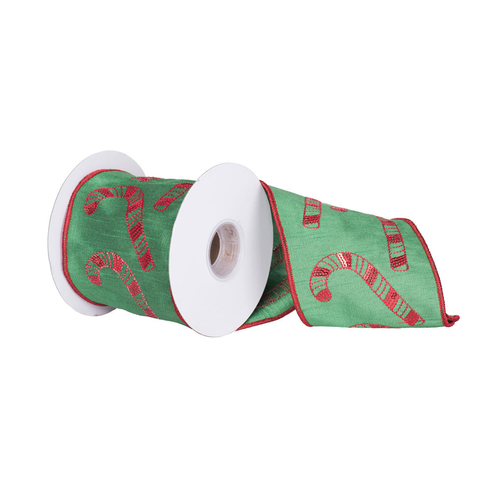 "4"" x 5 yd - Red Candy Canes Green Dupion Christmas Ribbon"