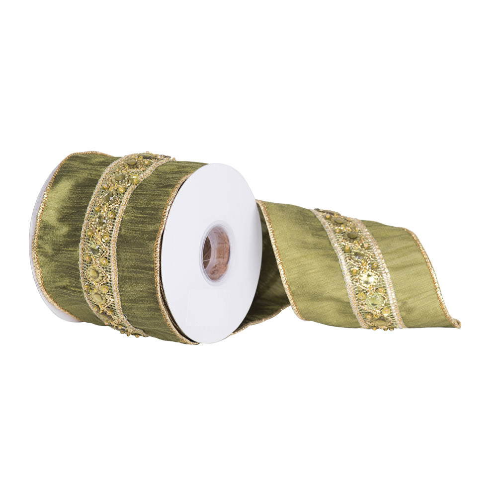 "4"" x 5 yd - Olive w/ Decorative Gold Sequin Trim Christmas Ribbon"