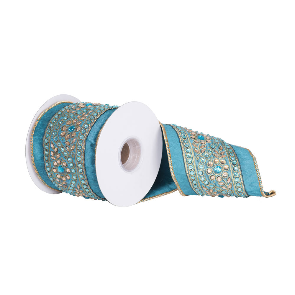 "4"" x 5 yd - Turquoise Dupion w/ Turquoise and Gold Stone Trim Christmas Ribbon"
