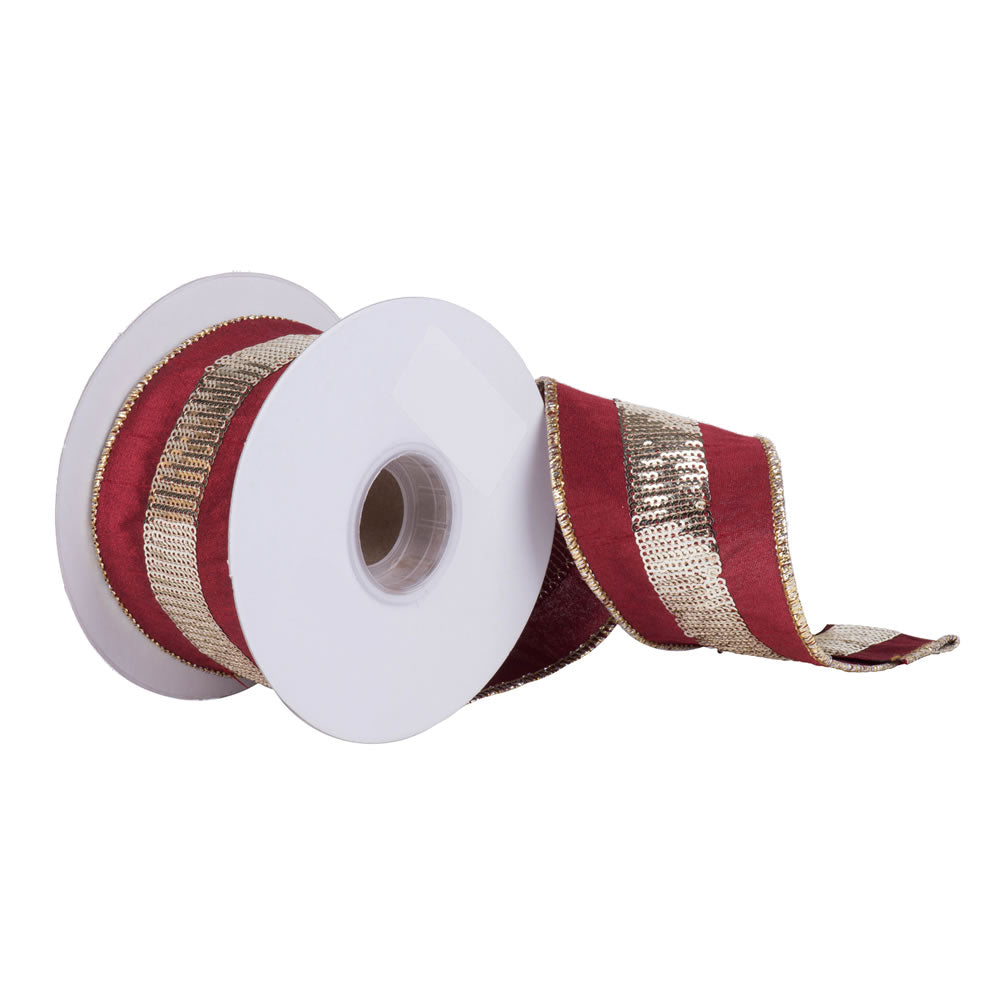 "2.5"" x 5 yd - Burgundy Dupion w/ Gold Sequin Stripe Christmas Ribbon"