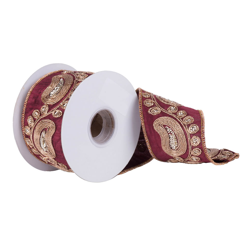 "2.5"" x 5 yd - Burgundy Dupion w/ Gold Sequin Paisley Pattern Christmas Ribbon"