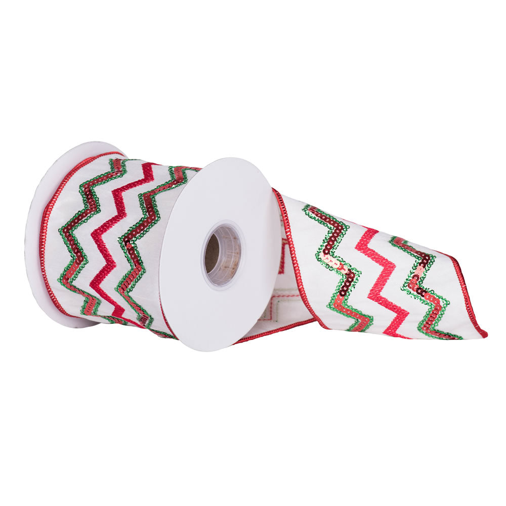 "4"" x 5 yd - Ivory Dupion w/ Red Green Sequin Chevron Pattern Christmas Ribbon"