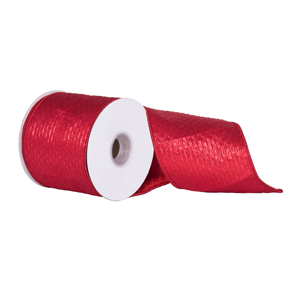 "4"" x 10 yd - Red Quilted Lame Jacquard Christmas and Craft Ribbon"