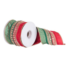 "4"" x 5 yd - Red and Green Dupion w/ Gold Crystal Accents Christmas Ribbon"