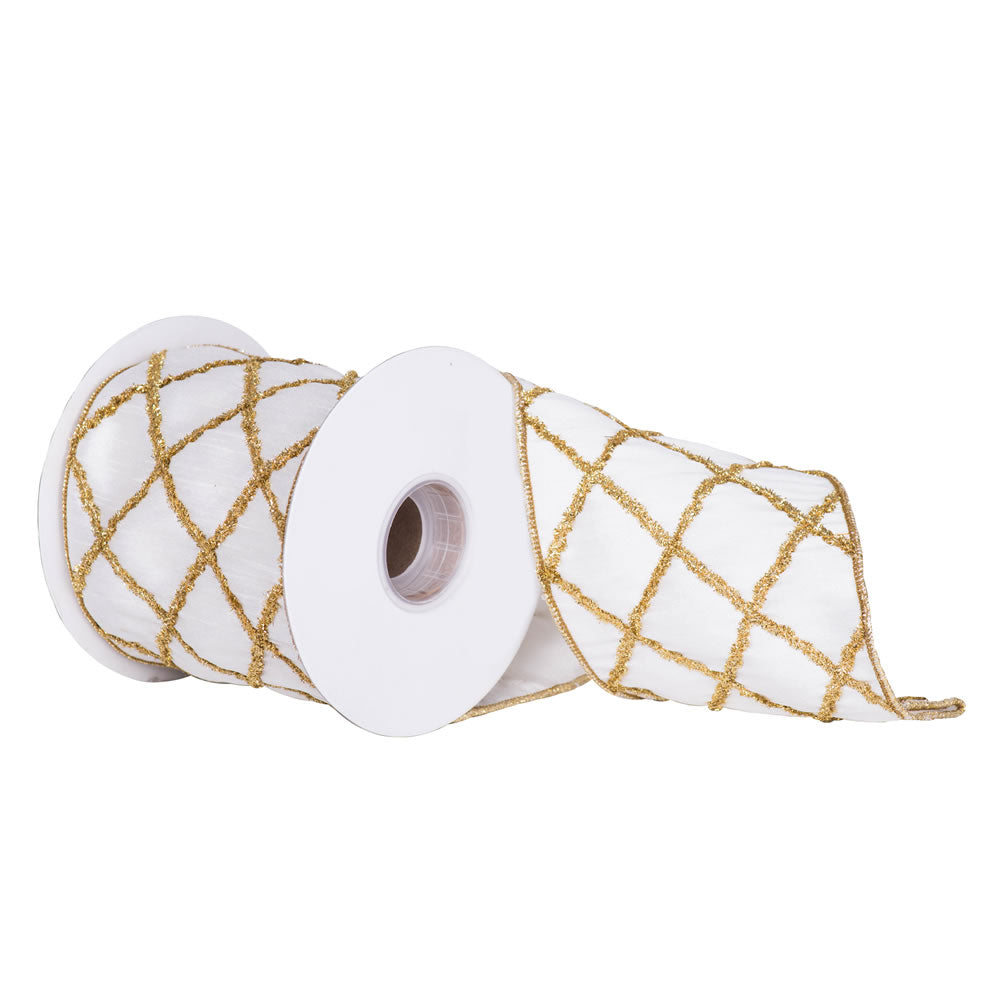 "4"" x 5 yd - Ivory w/ Gold Chenille Diamond Pattern Christmas and Craft Ribbon"