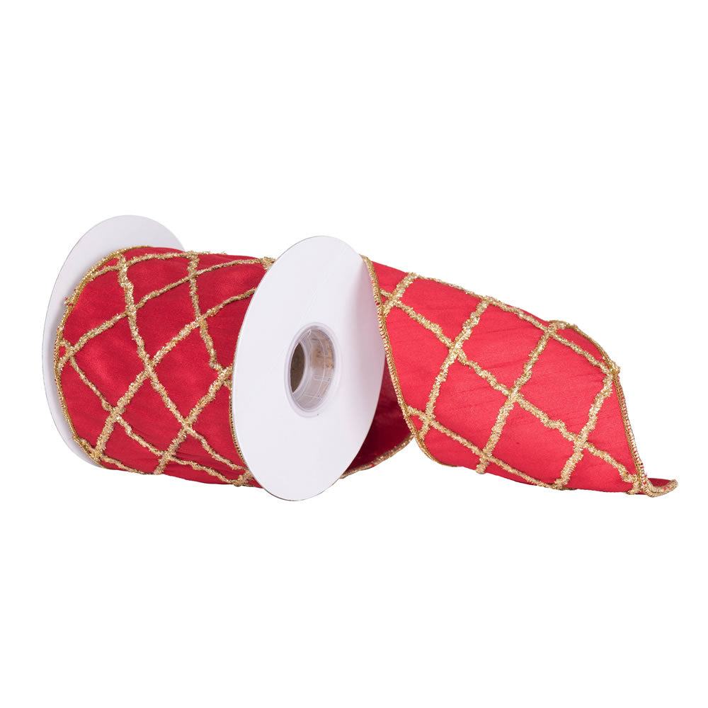"4"" x 5 yd - Red w/ Gold Chenille Diamond Pattern Christmas and Craft Ribbon"