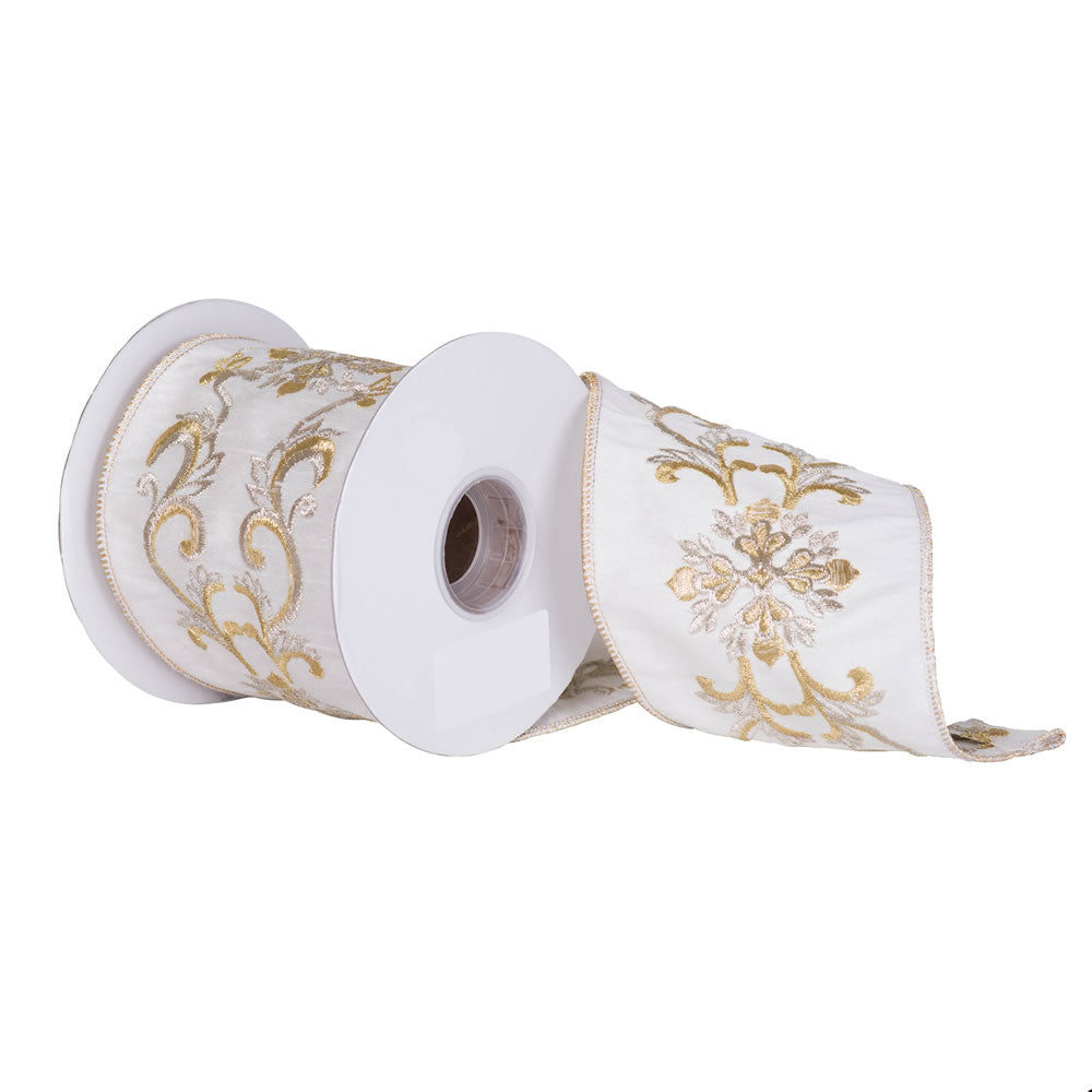 "4"" x 5 yd - Ivory Dupion w/ Snowflake and Scroll Design Christmas Ribbon"