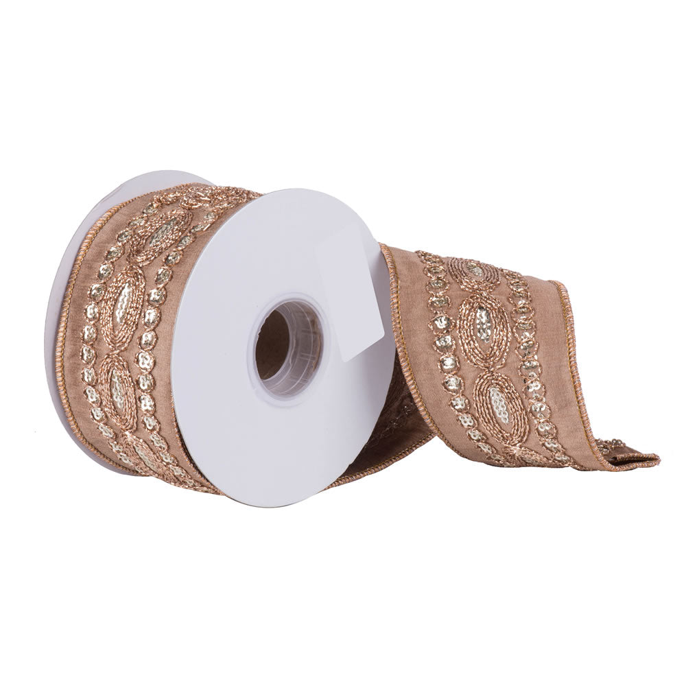 "2.5"" x 5 yd - Taupe Dupion w/ Copper Sequin Trim Christmas Ribbon"