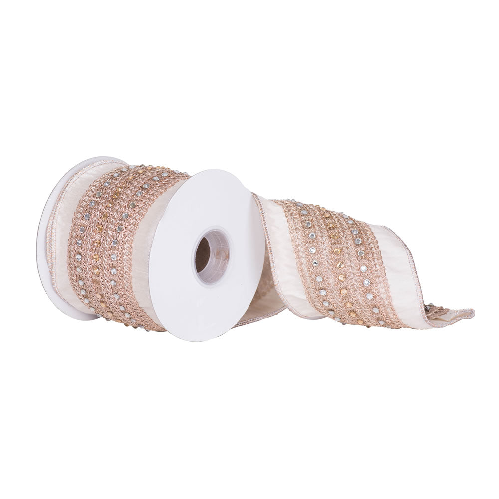 "4"" x 5 yd - Ivory Dupion w/ Rose Gold Crystal Accents Christmas and Craft Ribbon"