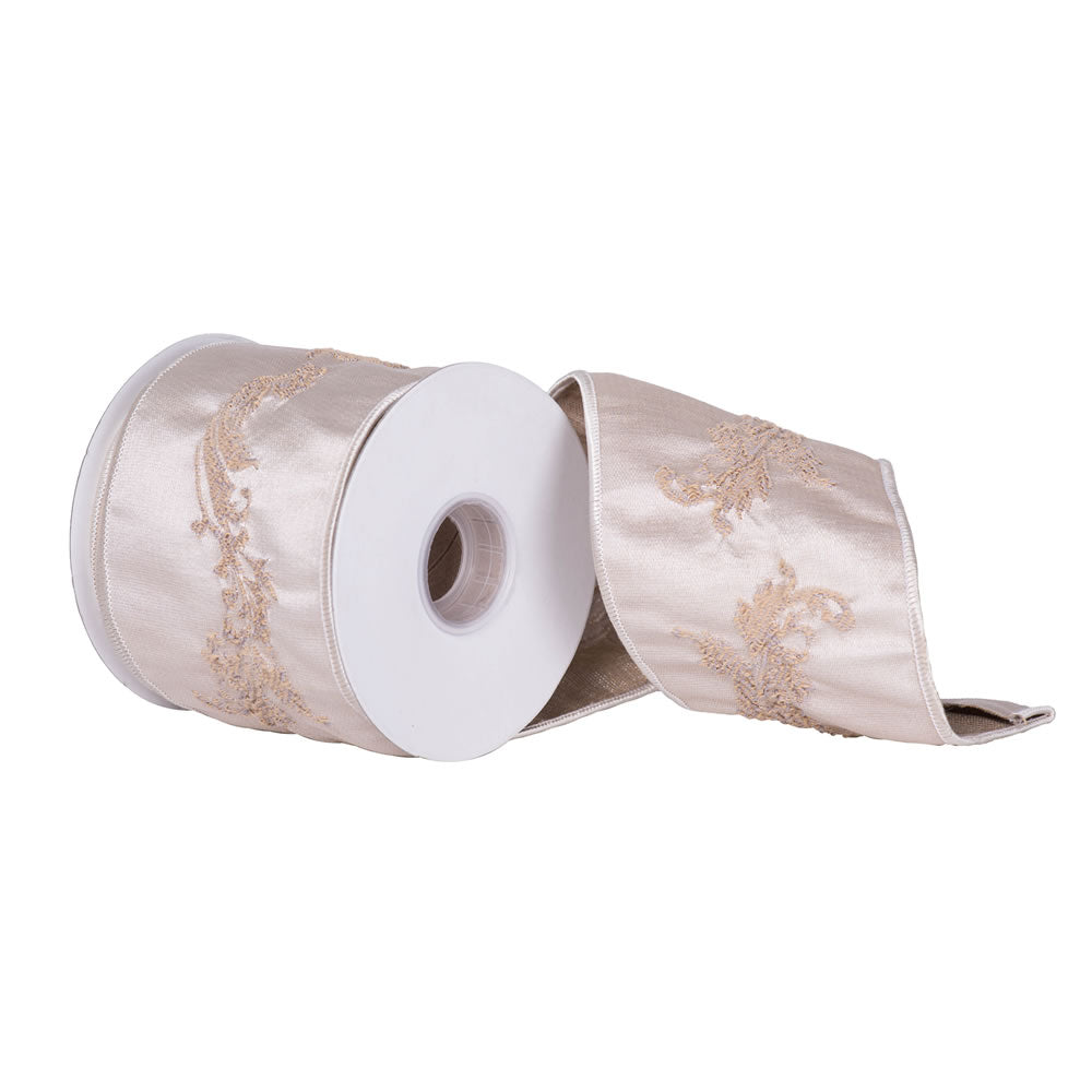 "4"" x 10 yd - Ivory Acanthus Leaf Jacquard Christmas and Craft Ribbon"