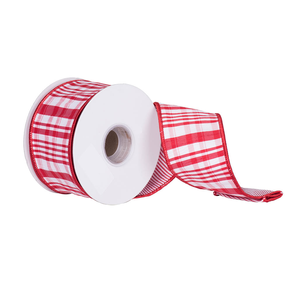 "2.5"" x 10 yd - Red and White Scandia Plaid Christmas and Craft Ribbon"