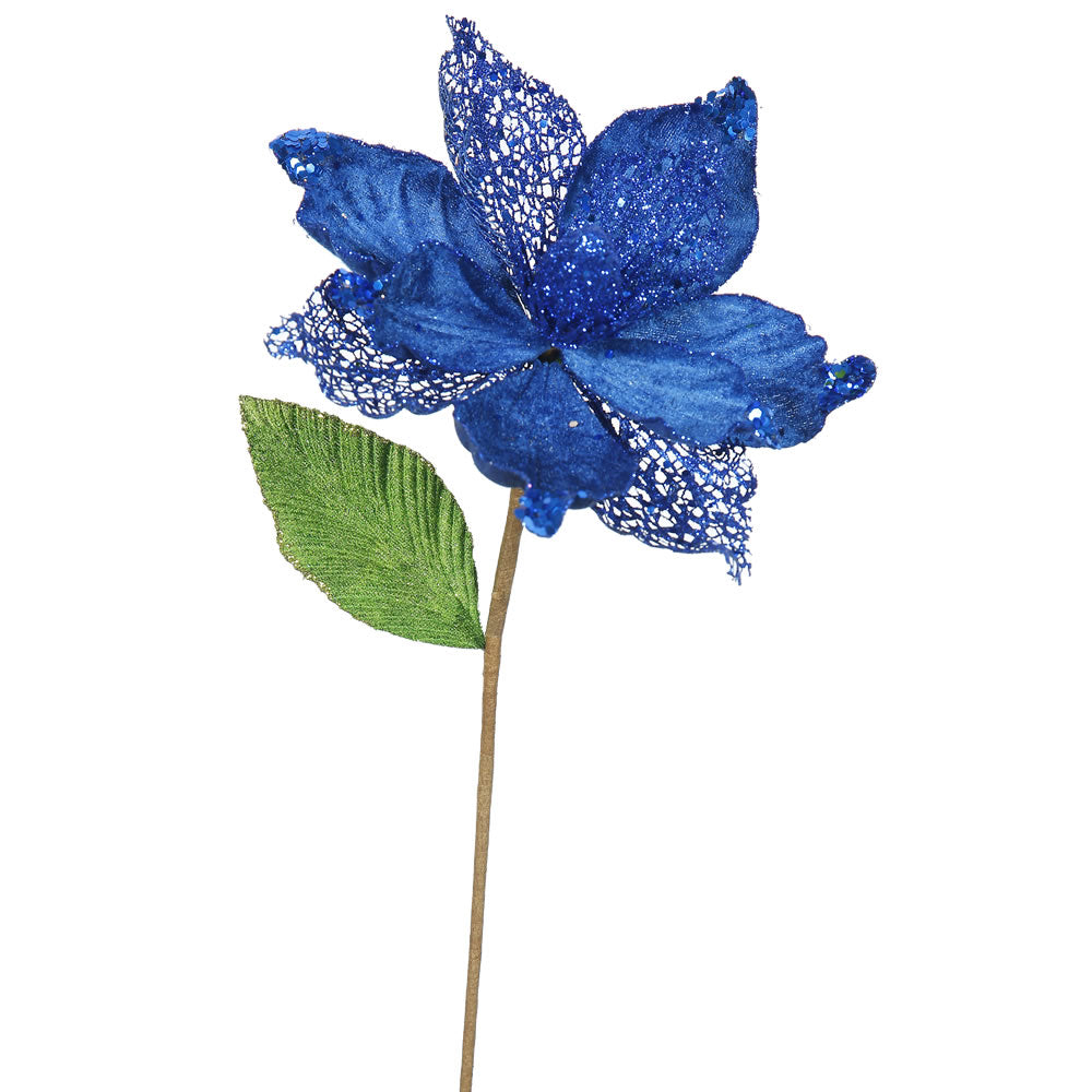"6PK - 22"" Blue Magnolia 8"" Glitter Flower Decorative Christmas Stem"