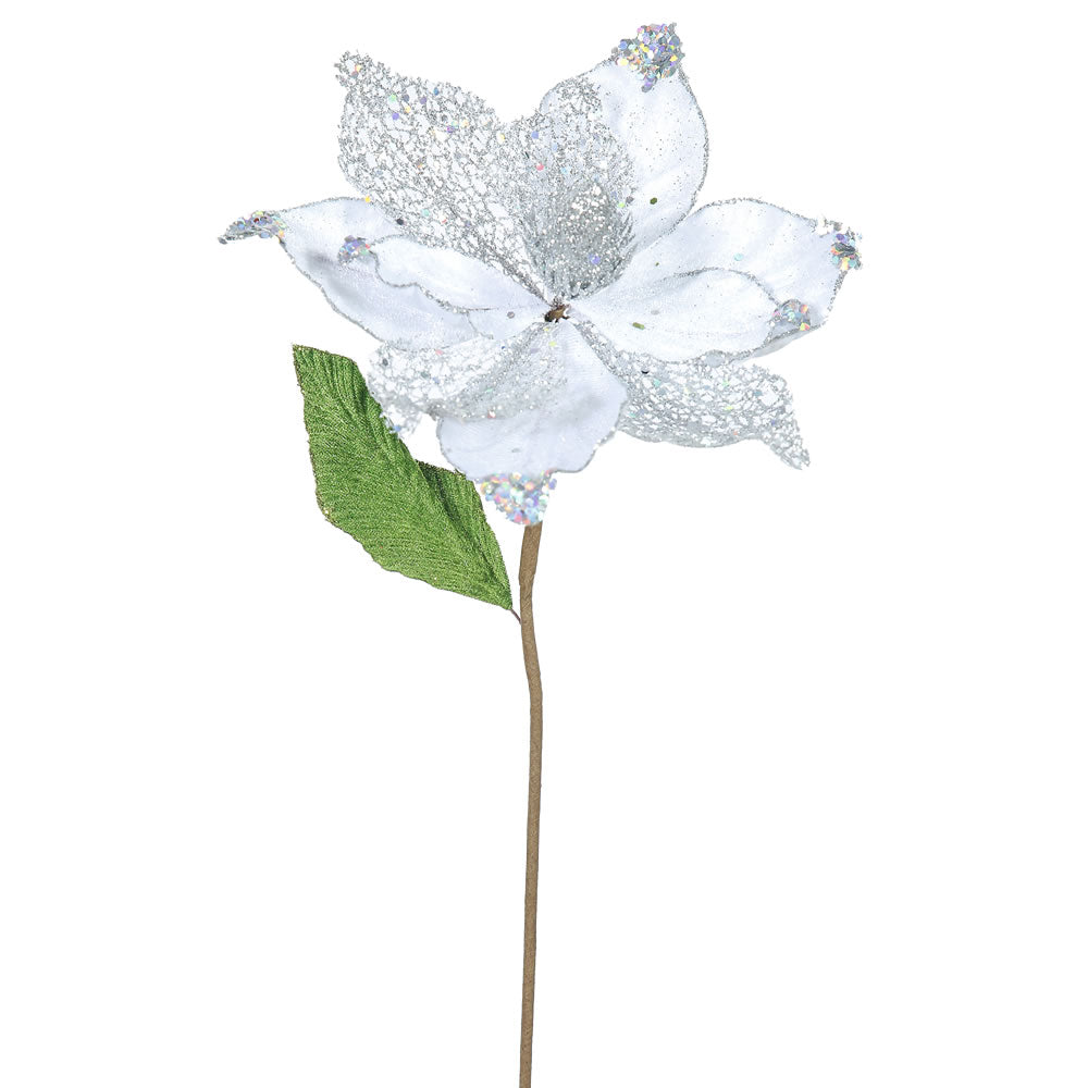 "6PK - 22"" Silver Magnolia 8"" Glitter Flower Decorative Christmas Stem"