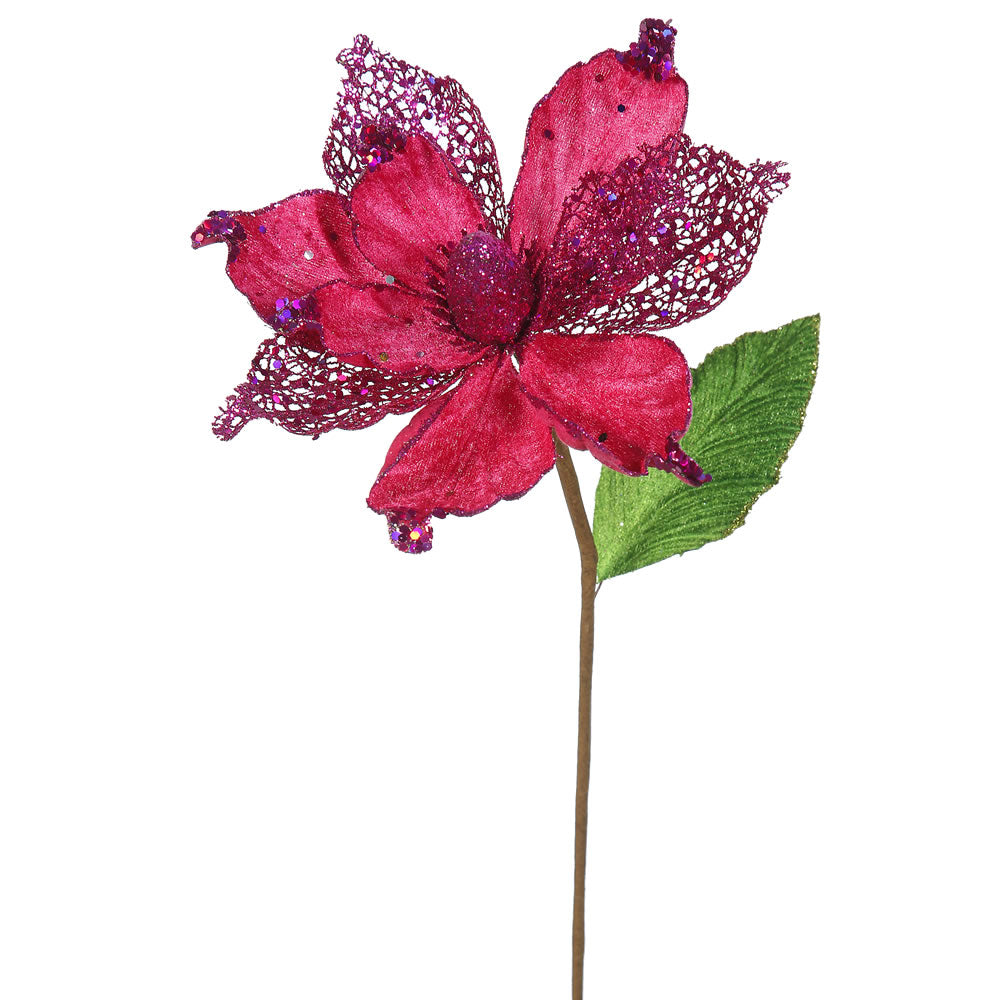 "6PK - 22"" Cerise Magnolia 8"" Glitter Flower Decorative Christmas Stem"
