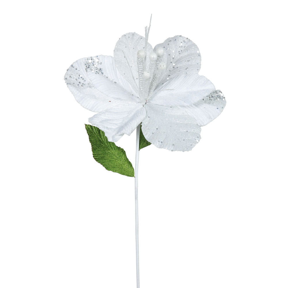 "6PK - 22"" White Amaryllis 10"" Glitter Flower Decorative Christmas Stem"