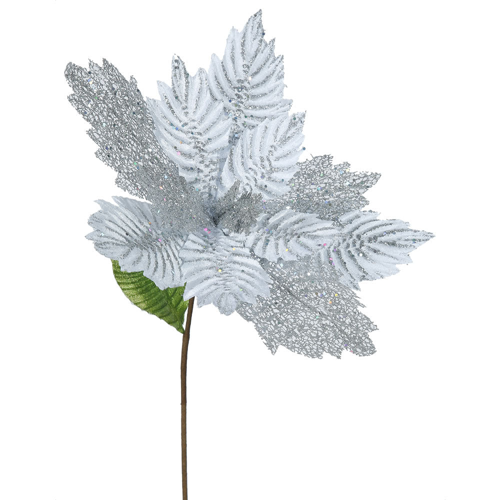 "6PK - 22"" Silver Poinsettia 15"" Glitter Flower Decorative Christmas Stem"