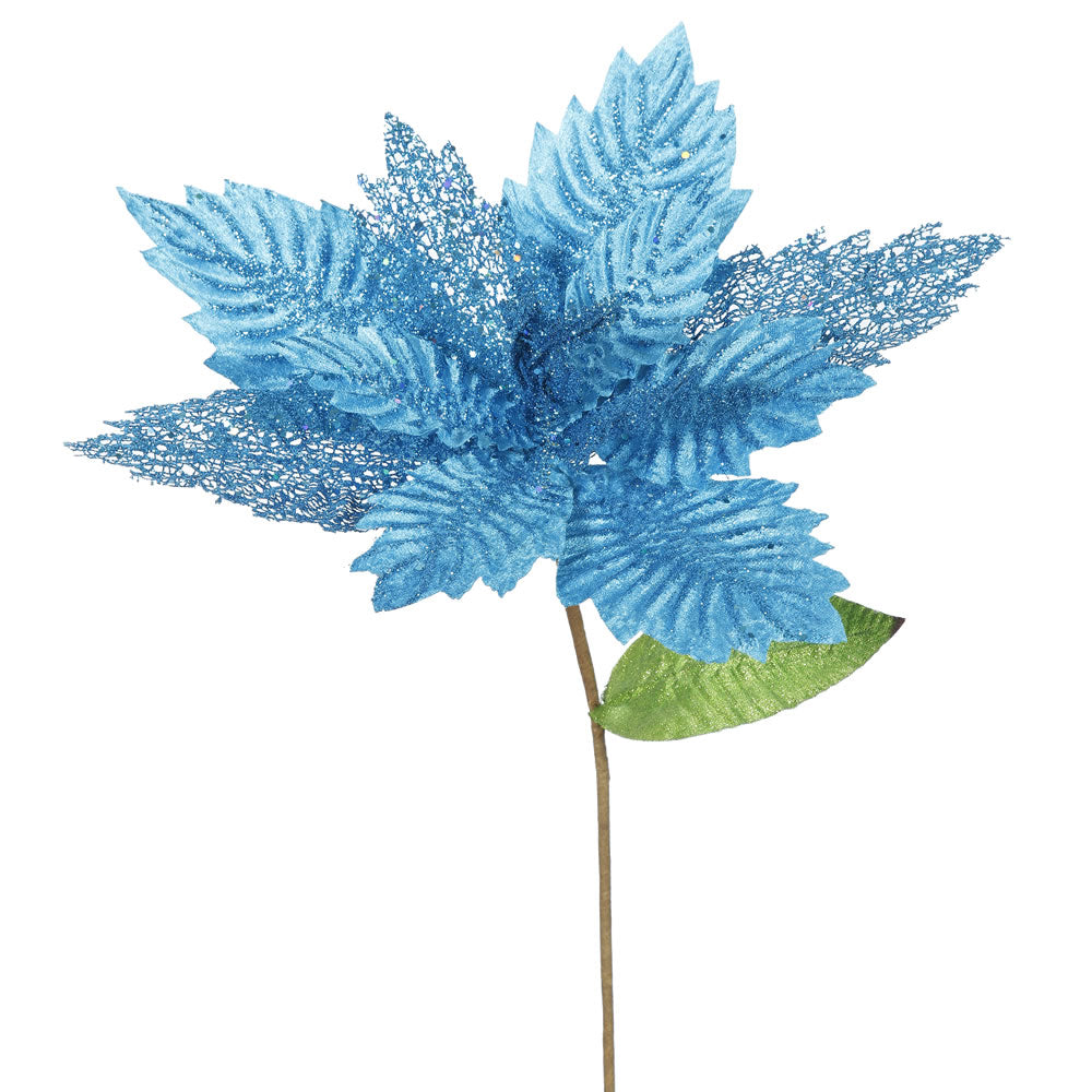 "6PK - 22"" Turquoise Poinsettia 15"" Glitter Flower Decorative Christmas Stem"