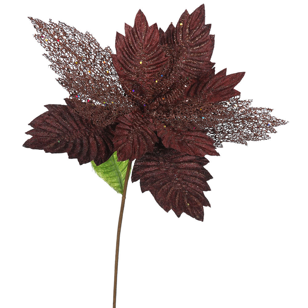 "6PK - 22"" Chocolate Poinsettia 15"" Glitter Flower Decorative Christmas Stem"