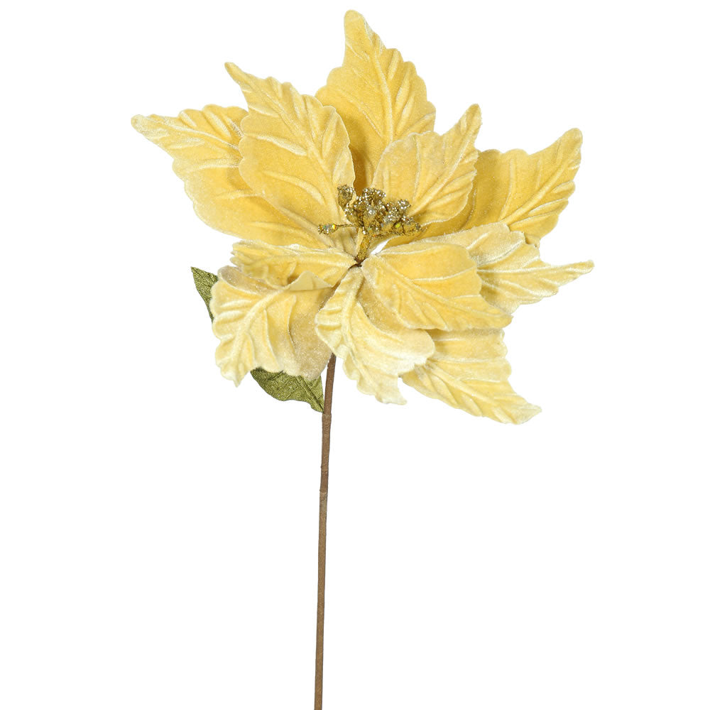 "6PK - 22"" Gold Poinsettia 12"" Flower Decorative Christmas Stem"