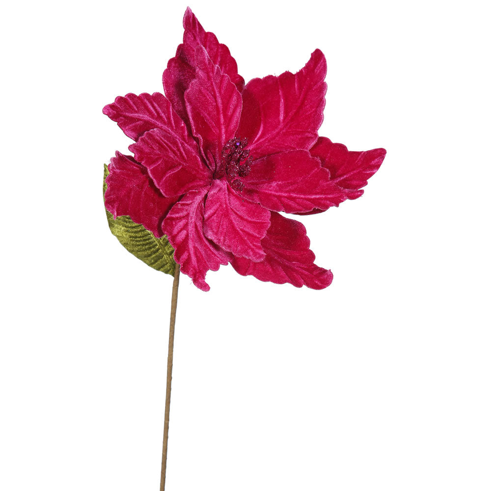 "6PK - 22"" Cerise Poinsettia 12"" Flower Decorative Christmas Stem"