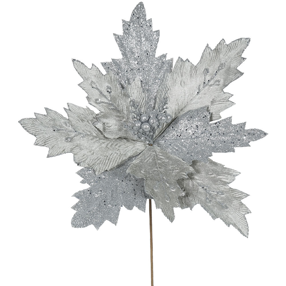 "6PK - 22"" Pewter Poinsettia 21"" Glitter Flower Decorative Christmas Stem"