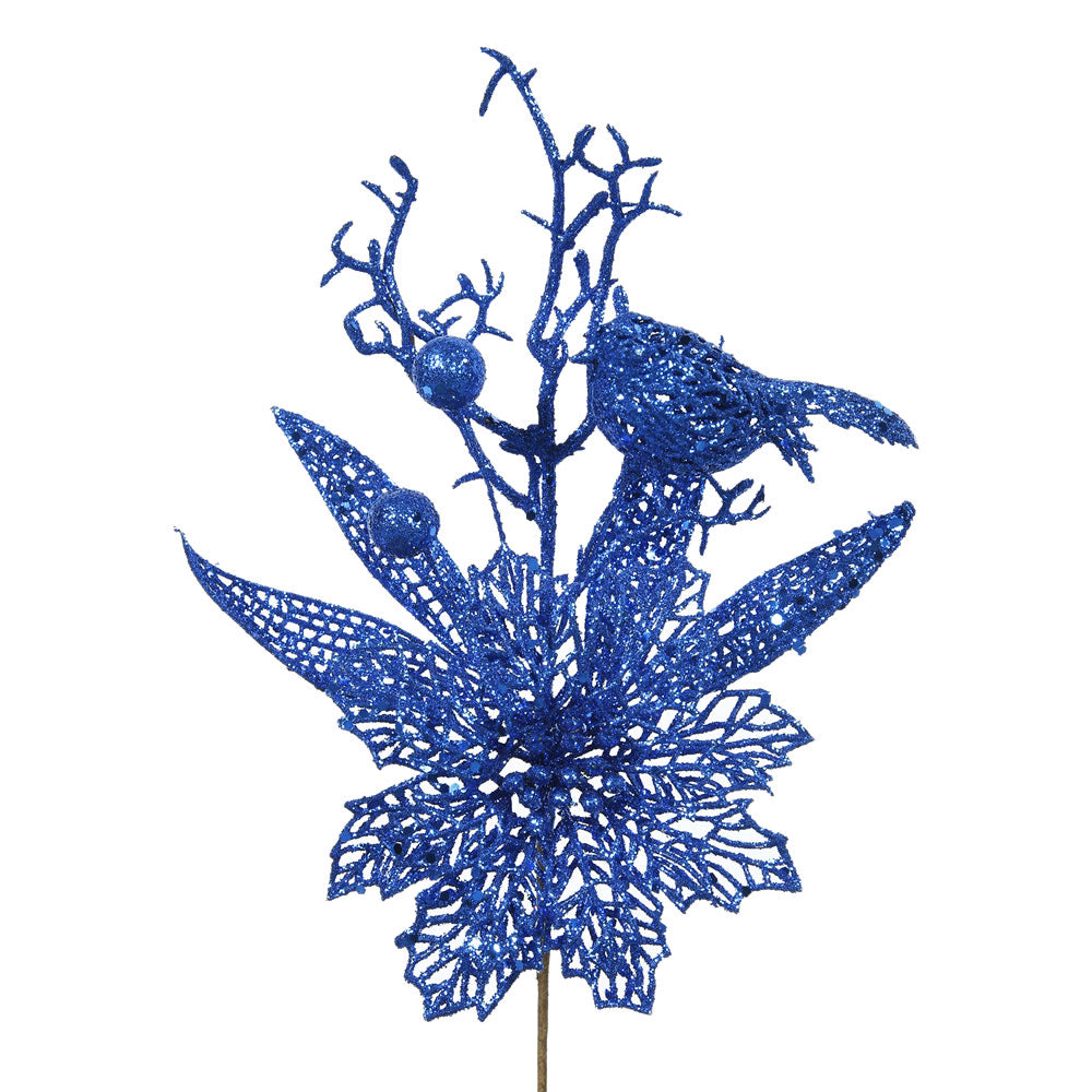 "12PK - 13"" Blue Glitter Poinsettia and Bird Decorative Christmas Pick"