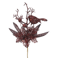 "12PK - 13"" Burgundy Glitter Poinsettia and Bird Decorative Christmas Pick"