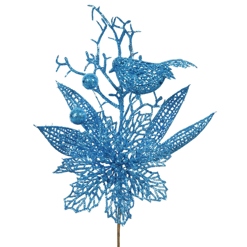 "12PK - 13"" Turquoise Glitter Poinsettia and Bird Decorative Christmas Pick"