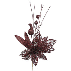 "12PK - 14"" Burgundy Glitter Poinsettia and Ball Decorative Christmas Pick"